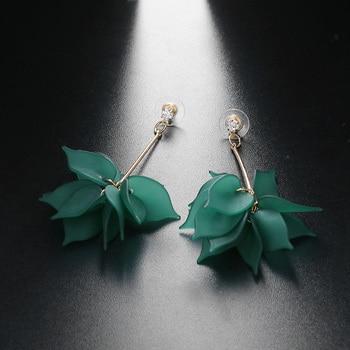 Women Colorful Elegant Crystal Flower Earrings 2