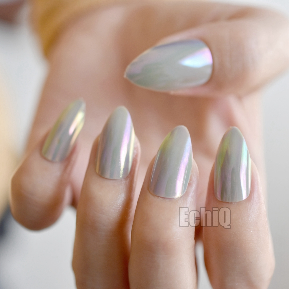 Holographic Grey Artificial Nails Point Medium Size Fake Press On Nail Tips For Lady Finger Decorations With Glue Sticker E190 In False From Beauty
