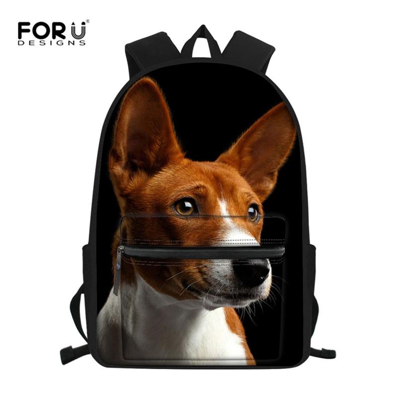 FORUDESIGNS Backpack For Boys Girls Schoolbag For Teenagers Basenji Dog Children School Bag For Students Child Kids Mochila