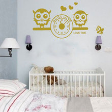 Cute Lovely Owls Bird Wall Decal GUGU LOVE Clock Vinyl Stickers For Children Baby Infants Bedroom Room Decoration DIY K533