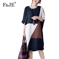 New Arrival Summer Fashion Arts Style Women Short Sleeve Loose Casual Long Dress Patchwork Cotton Linen