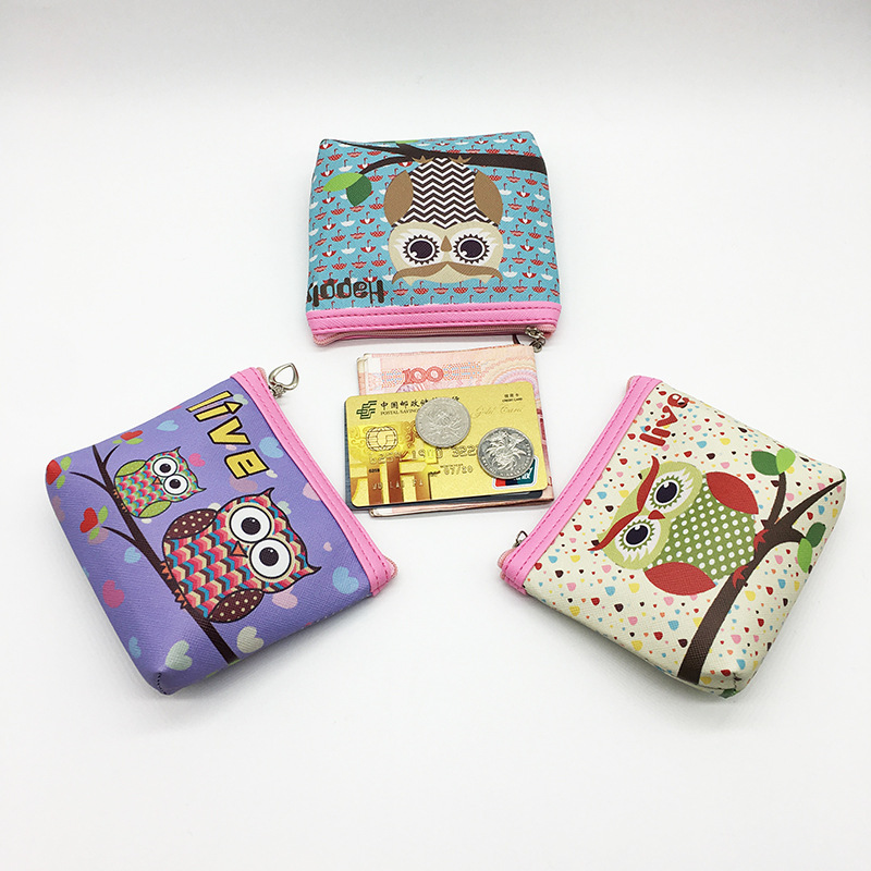 2017 Portable Girl Cartoon Cute Printing Owl Pu Leather Women Purse Wallet Bag New Coin Purse Change Kids Card Money Pouch