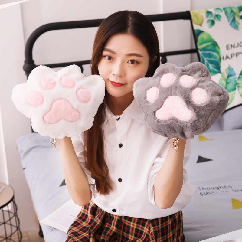 Lucu Beruang Paw Tas Selempang Wanita Plush Koin Dompet Fashion Kucing Rantai Messenger Tas Remaja Yang Indah Dompet untuk Anak-anak wanita Hadiah