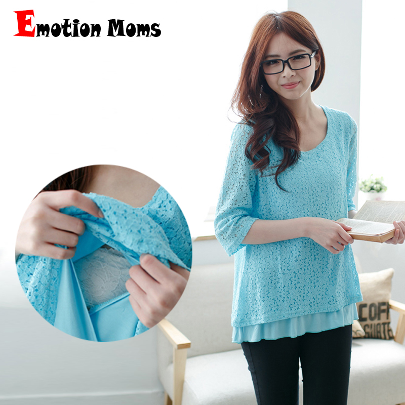 Emotion Moms Nursing Breastfeeding tops 34 Sleeve Lace Maternity Clothes pregnancy Clothes for Pregnant Women Maternity Tops
