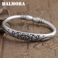 BALMORA 990 Pure Silver Flower Open Bangles For Women Mother Gift Thai Silver Jewelry About 17cm