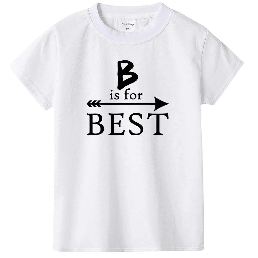 B É para Melhor e F É para o Amigo Do Bebê Das Meninas Dos Meninos Verão T-shirt Amigos Outfit Roupas Ciranças Roupas Combinando vestido de Festa da moda