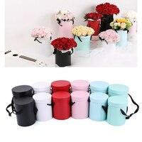 Wholesale 18 Sets 2 Pcs A Set Mini Portable Flower Box Round Hug Bucket Gift Box With Lid Florist Bouquet Package Material
