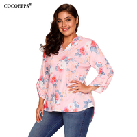 Women Sexy Floral Printing Plus Size Long Sleeve Shirt Winter V Neck With Button Basic Tops