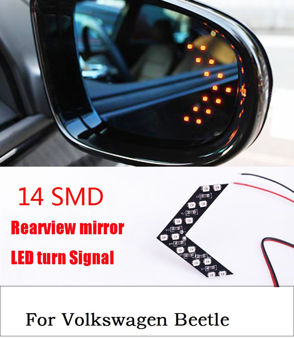 New 2017 New 2 Pcs 14 SMD LED Arrow Panel For Car Rear View Mirror Indicator Turn Signal Light CFEG For Volkswagen Beetle