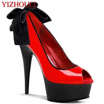open toe bride wedding shoes princess banquet formal dress shoes 15cm ultra high heels 6 inch bowtie sexy single shoes