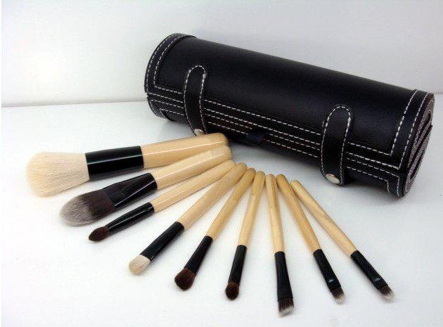 Venta al por mayor portátiles profesionales Bobi 9 unids cosmético de los cepillos Make-UpTools conjunto con un cilindro caso + Mini espejo