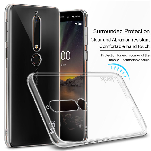 new arrival 7ab4b 4f522 US $4.99 20% OFF|IMAK Crystal Case Transparent Durable PC Hard Case Cover  for Nokia 6.1 Back Cover for Nokia6 2018 Dual Sim Clear Case-in Fitted  Cases ...