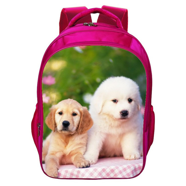 Factory Price 2016 Hot Sale Oxford 16-Inch Printing Animal Dog Children School Bag Pink Girls Backpacks for Teenagers Schoolbag