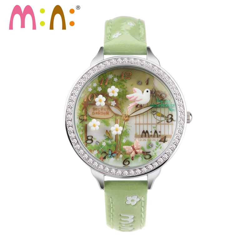 M N Handmade 3D mini world Quartz Casual Watch Women Ladies Rhinestones Dress Children Cartoon wristwatch