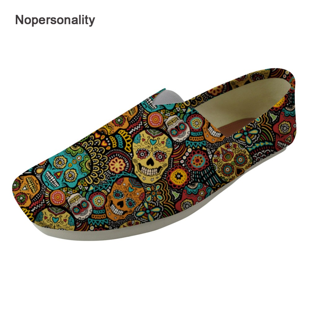 Nopersonality Classic Sugar Skull Print Canvas Loafers Personalized Spring Autumn Flats for Women Casual Outside FlatsNopersonality Classic Sugar Skull Print Canvas Loafers Personalized Spring Autumn Flats for Women Casual Outside Flats