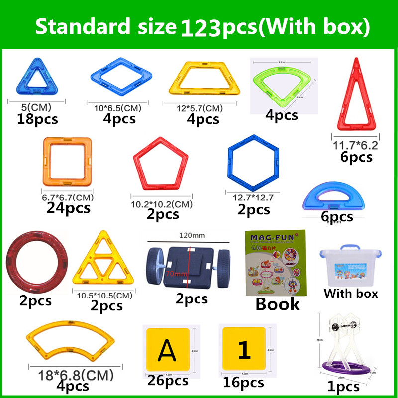 123 pcs Standard Size DIY Magnetic building blocks magic magnet pulling magnetic assembled birthday gifts for