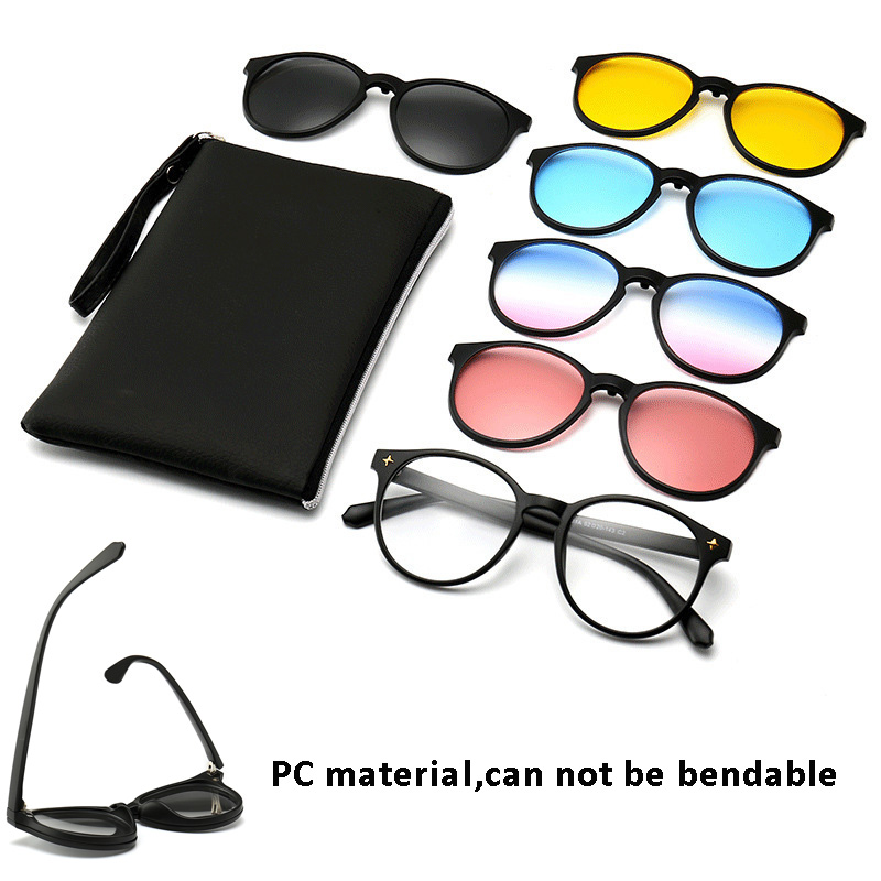 Classic Polarized <font><b>Sunglasses</b></font> Men Women <font><b>5</b></font> <font><b>in</b></font> <font><b>1</b></font> Clip on Magnetic glasses TR90 UV400 oculos de sol for Night Driving image