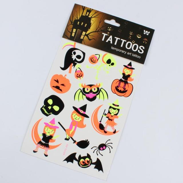 Halloween Luminous Tattoo Ghost Taty Kids Fake Tattoo