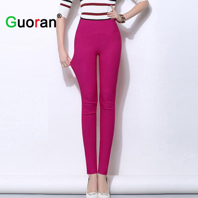 {Guoran}2016 High Stretch Women Spring Summer Candy Color Legging High Waist Plus Size Ladies Sexy Skinny Pencil Pants Female