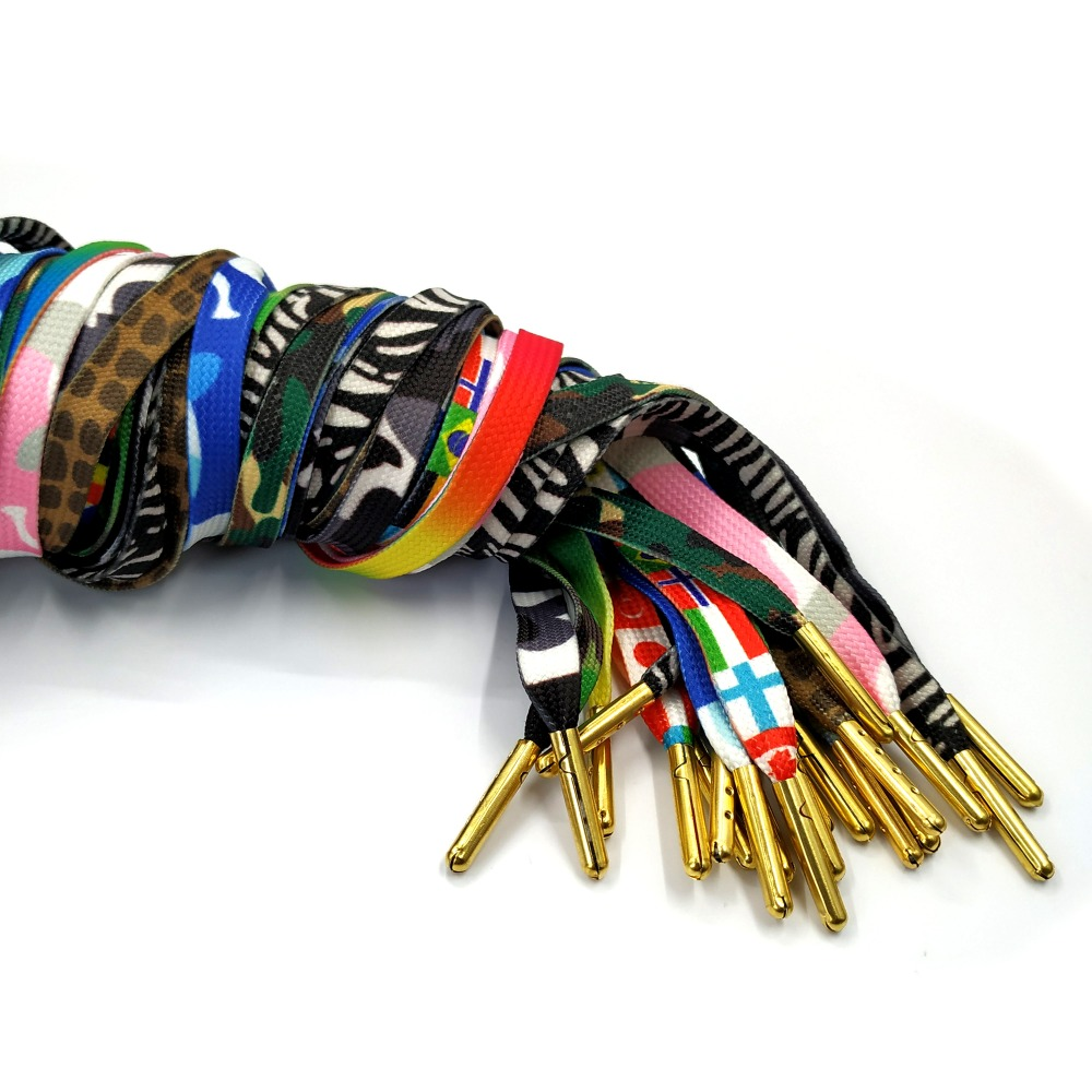 JUPHAIR Cheap Flag Zebra Leopard Print Flat Shoelaces for Casual Shoes Sneaker Metal Tip Shoe Laces Colorful Rainbow Shoelaces in Shoelaces from Shoes