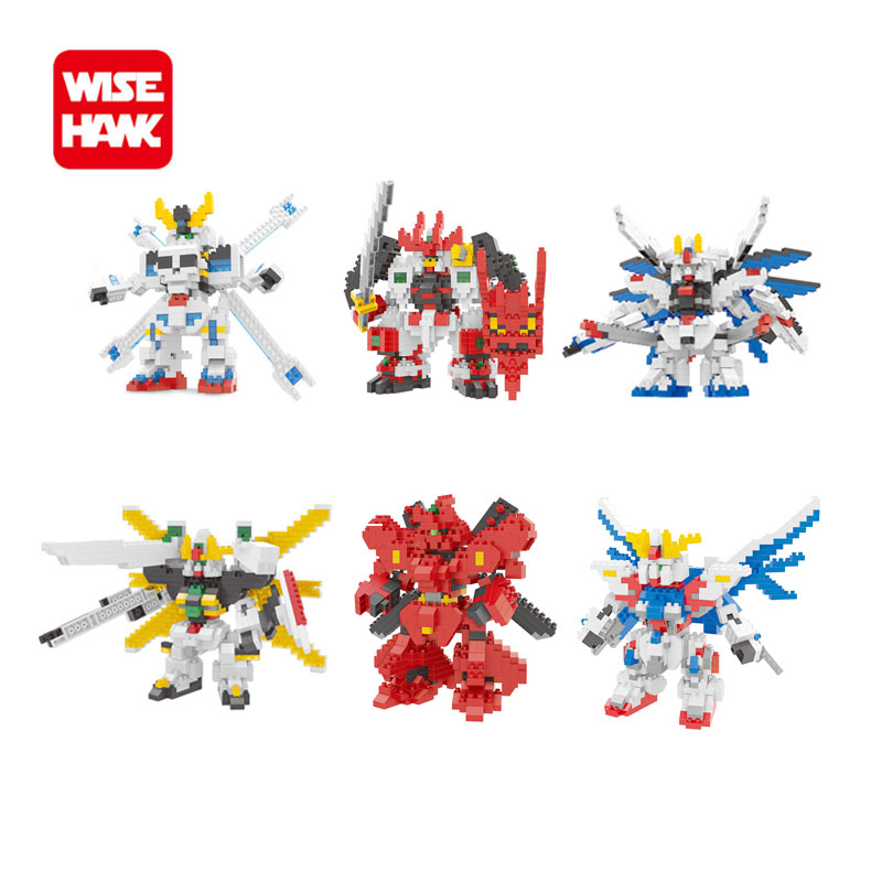 Full set 6pcs nano blocks kawaii micro Gundam robot new wisehawk plastic mini funny building bricks diy fun toys for kids gift. loz diamond blocks assembly display case plastic large display box table for figures nano pixels micro blocks bricks toy 9940