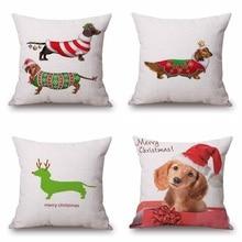 Christmas Festival Dachshund Cushion Cover 45X45cm Animal  Sausage dog Pillow Cases Kids Gift Bedroom Sofa Decoration