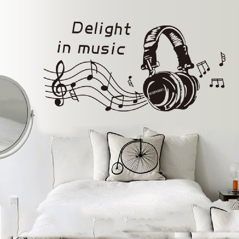 Us 3 15 Bedroom Wall Sticker Music Removable Living Room Picture Home Decor Dancing Note Wallpaper In Stickers From Garden