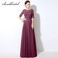 Spring A Line Chiffon Mother of the Bride Dresses with Half Sleeve Back Lace O Neck Beaded Long Wedding Party Gowns Hot SD321