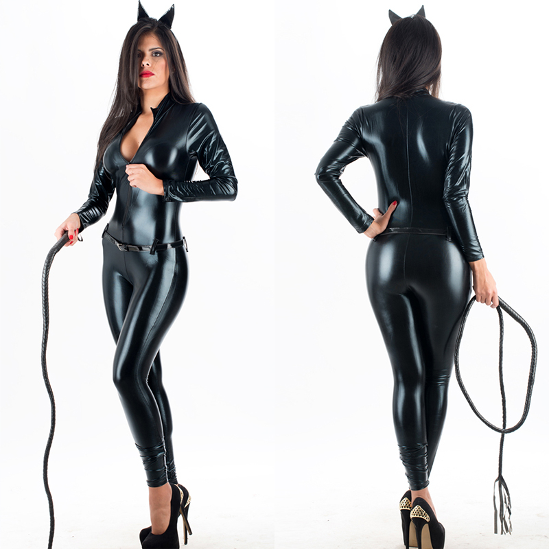 Women Sexy Black Catsuits Cat Women Long Sleeve Zentai Wet Look Bodysuits Pole Dance Clothes Shiny Zipper Faux Leather Jumpsuit