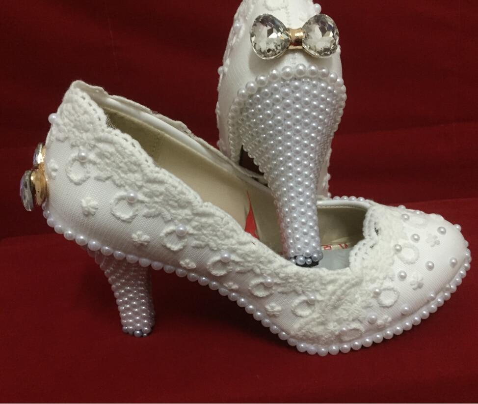Elegant white lace flower wedding shoes pearl bow high heel platform shoes bridesmaid white single shoes