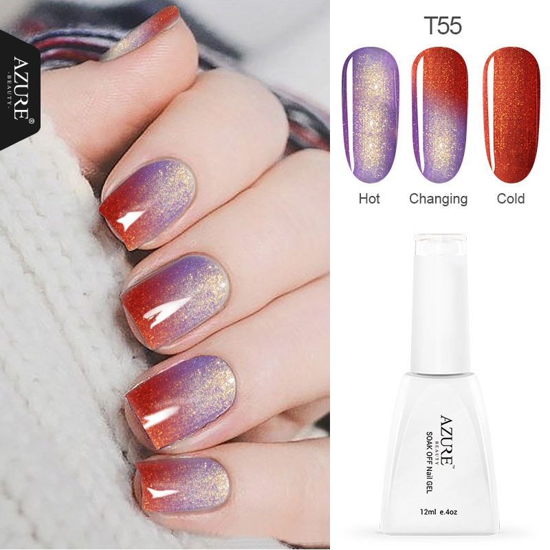 Azure Beauty 12ml / pcs Temperatur Skiftende Glitter Farge Gel Polsk Skinnende Farge Nail Gel For Nail Art Soak Off LED Gel Polish