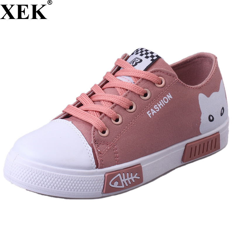 XEK 2018 New Summer Women Canvas Shoes Cat Flats Women Casual Shoes Cute Cartoon Lace Up Student Canvas Women Shoes JH189 ...