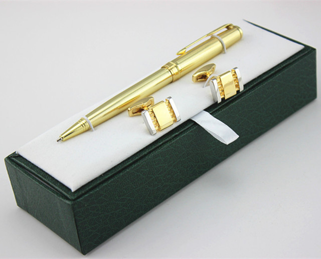 High Quality Golden Ballpoint Pen Cufflinks Set Luxury Gift Box Executive  Office Supplies Writing Pen +