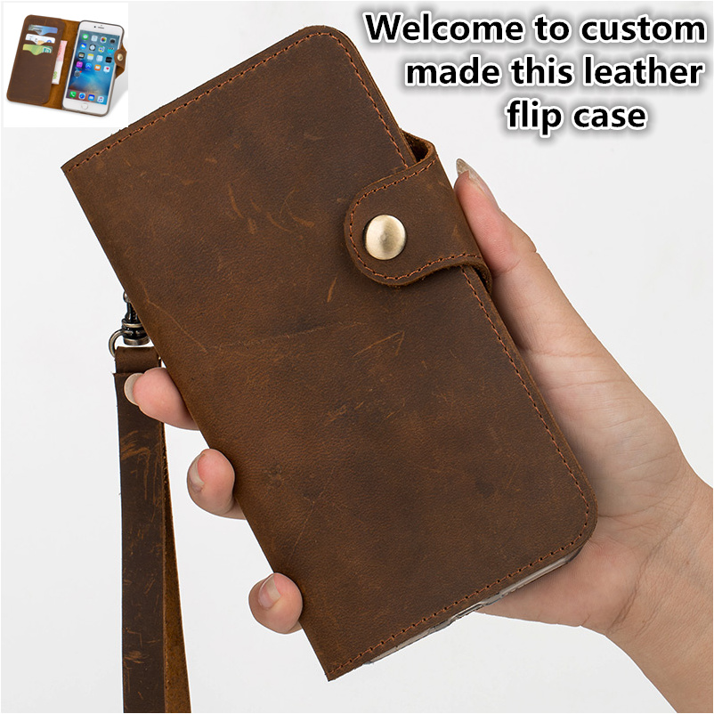 CH07 Genuine leather wallet flip style case for font b OnePlus b font font b 7