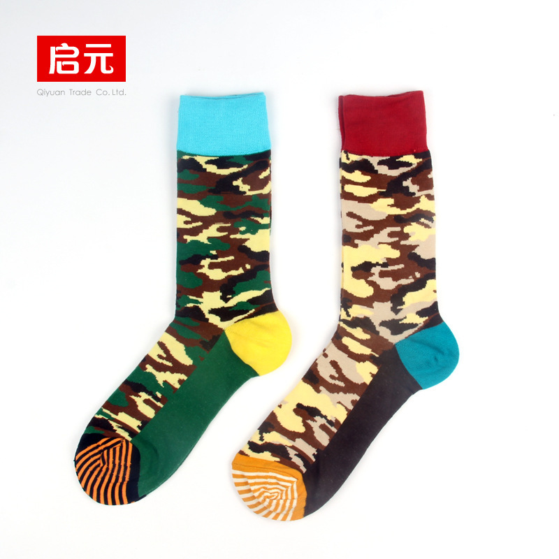 Rongge 10 Pieces 5 Pairs Lot Happy Socks Men Style Gift FAGS Camouflage Color Street Hip Hop Man Crew Lovers Sock Free Shipping