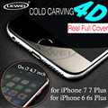 LEWEI for iPhone 7 6 Plus 0.2mm 4D ( upgrade 3D ) Curved Full Covered Tempered Glass for iPhone 7 6s Screen Protector film