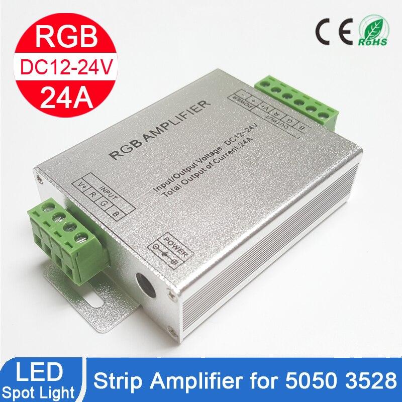 Amplificador RGB RGBW, DC12 24V 24 A, circuito de salida de 4 canales, carcasa de aluminio, controlador de tira led, repetidor de señal de datosControladores RGB   -