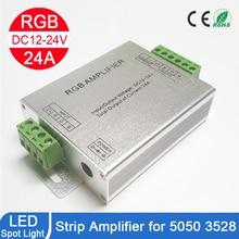 Amplificador de rgb rgbw, DC12 24V 24a 4 canais de saída de alumínio concha de led controlador de tira, repetidor de sinal de dados