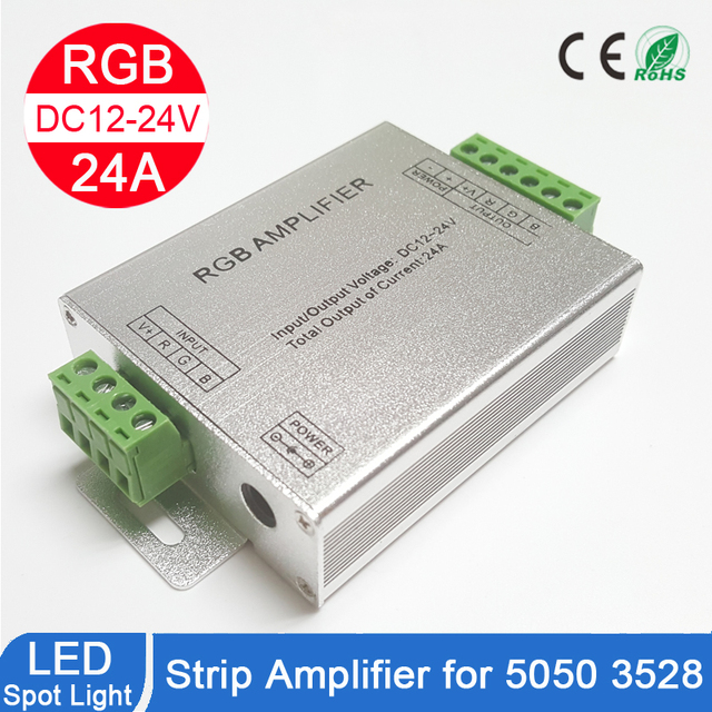 RGB RGBW Amplifier, DC12 24V 24A 4 Channel Output Circuit Aluminum Shell LED Strip Controller Data Signal Repeater