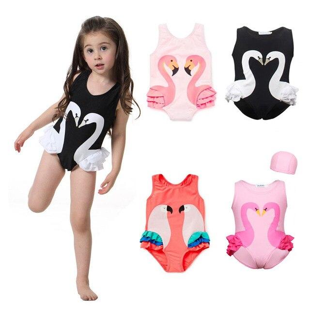 0c08e8024b8 2018 Summer Baby Girls One Piece Swimsuit Children Swimwear Cute Print  Bikini Parrot Swan Flamingos Bathing