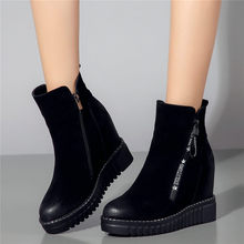 2019 Punk Oxfords Shoes Women Cow Leather Wedges Platform Ankle Boots Round Toe High Heel Pumps Casual Shoes High Top Trainers недорго, оригинальная цена