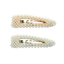 Sprzedawaj ze stratą! Kobiety ślubny Vintage sztuczna perła owinięte BB spinki do włosów dziewczyny brokatowe złote srebrne spinki do włosów ze stopu metali tanie tanio CN (pochodzenie) Dla dorosłych Unisex Z tworzywa sztucznego Stałe Barrettes Nakrycia głowy Moda