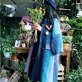 MX009 2016 Nova Chegada listrado lavanda gradiente de cor solta longo casaco de inverno casaco de lã das mulheres