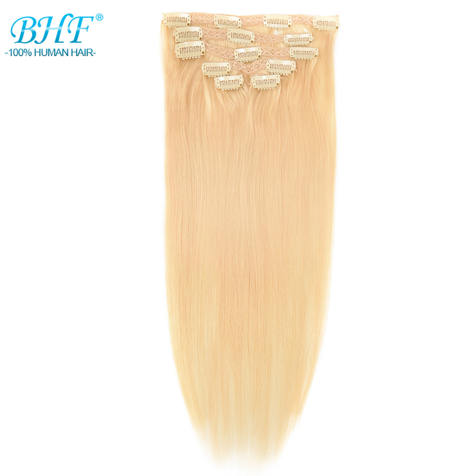 BHF Clip In Human Hair Extensions Blonde 613# Machine Made Remy 100% European Full Head Natural Straight Hair Can Curl