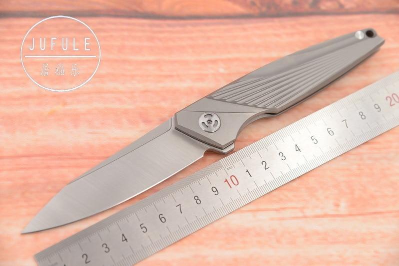 JUFULE New Original M390 blade TC4 Titanium Flipper Speeder folding camping hunting pocket fruit EDC tool dinner kitchen knife