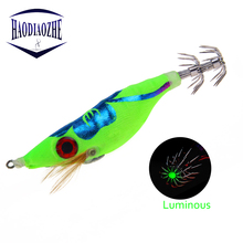 Купить с кэшбэком Jig Shrimp Fishing Lure Squid Cuttlefish Hard Lures Fluorescence Wood Luminous Shrimp with Hooks Pesca Wobblers Fishing Tackle