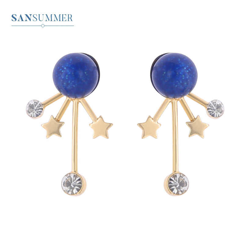 Sansummer Hot Fashion Blue Fantasy Spots Round Rhinestone Stars Shiny Boho Personality Vintage Style Earrings For Women Jewelry
