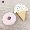 5pcs Silicone Ice Cream Teether Food Grade Teether BPA Free Silicone Accessory DIY Crafts Teether Necklace Pendant Teether Toys