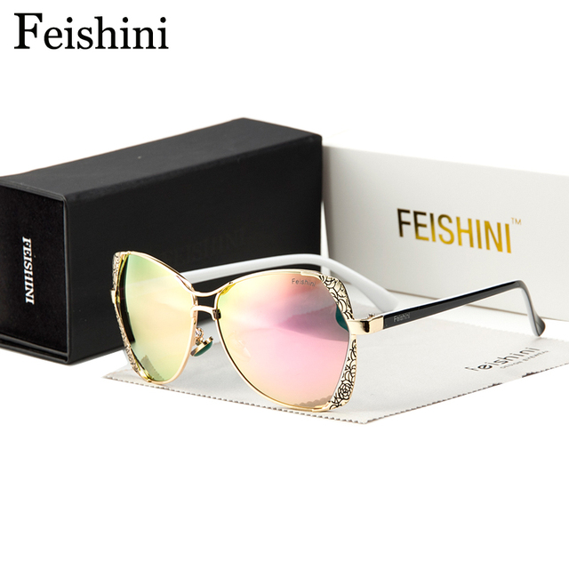 FEISHINI Classic Metal Pattern Brand Designer Luxury Gradient Vintage Sunglasses Polarized Women Cat eye Mirror 2017 Fashion