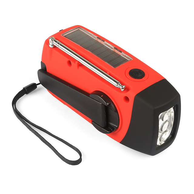 New Emergency Radio Solar Hand Crank AM/FM/NOAA LED Flashlight Phone Charger Digital Receiver with Rechargeable Battery